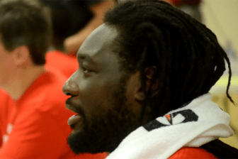 LaGarrette Blount during autograph sessions at halftime.