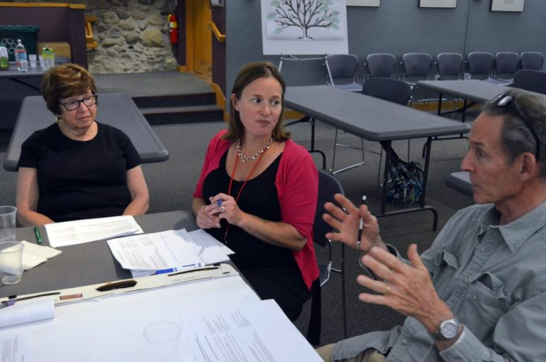 (l to r) Marilyn Frank, Danielle Evans and Bill Harman discuss OSRP issues.