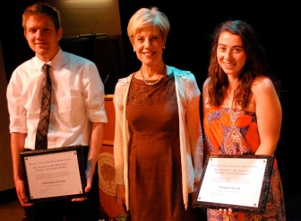 Christopher Cassidy of Chelmsford and Veronica Pecora of Westford received the first annual Dr. Judith L. Klimkiewicz Award and Scholarship at Nashoba Tech's recent Senior Awards Night. The award is named for the former longtime superintendent, center, who retired earlier this year.