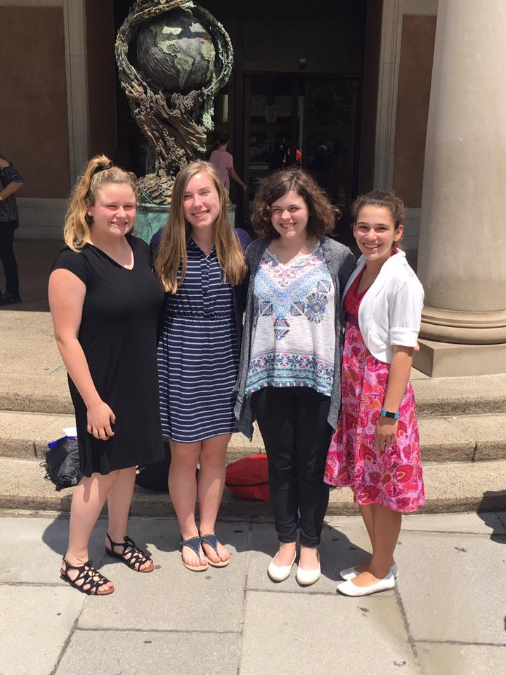 Four Blanchard Middle School eighth-graders placed a wreath on the Tomb of the Unkinow Soldier in Washington, D.C. They were (from left, Samantha Valcourt, Olivia Dunn , Sadie Green, Charlotte LoConte. COURTESY PHOTO BY KAREN LAVARNWAY SACCO