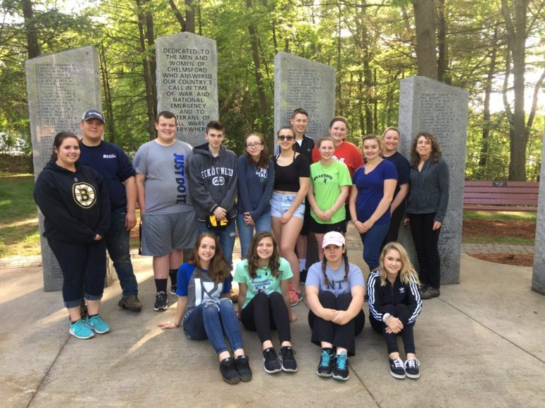 For the 13th year, students and staff in the Horticulture Club at Nashoba Valley Technical High School in Westford volunteered to spruce up Chelmsford Veterans Memorial Park on North Road in time for Memorial Day. COURTESY PHOTO
