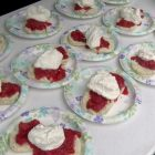 Strawberry shortcakes are lined up at the annual fundraising event sponsored by the First Parish Church United. PHOTO BY KATIE SAWOSKI
