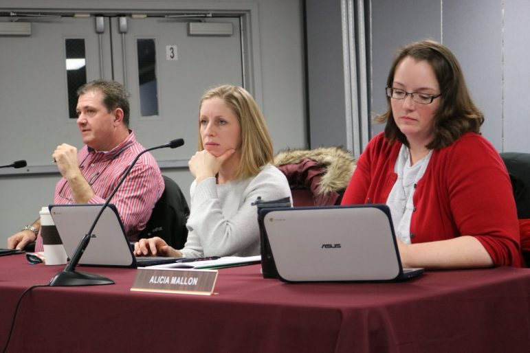School Committee members Arthur Benoit, Megan Eckroth, and Alicia Mallon at the Dec. 18 meeting. PHOTO BY JOYCE PELLINO CRANE