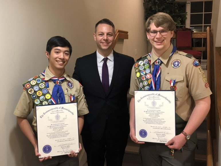 State Rep. James Arciero (center) presents Eagle Scouts Jeffrey M. Wong (left) and Ryan M. Harm, all of Westford, with official citations from the Massachusetts House of Legislation. COURTESY PHOTO