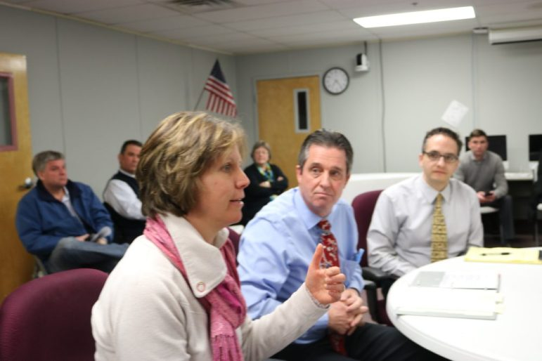 Selectman Elizabeth Almeida voices support for the Day School Playground at the Community Preservation Committee meeting on Jan. 30. Seeking funds are Day School Playground Development Chairman Kevin Regan and Day School Principal Chris Sardella. PHOTO BY JOYCE PELLINO CRANE