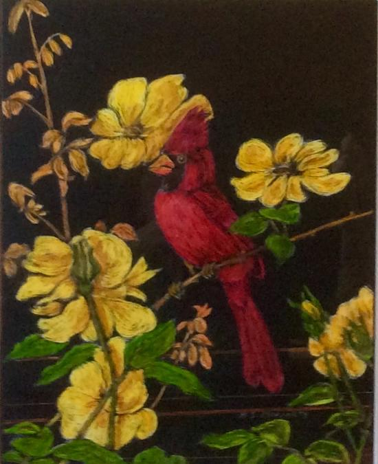 Cardinal, by Helen Moriarty. COURTESY PHOTO