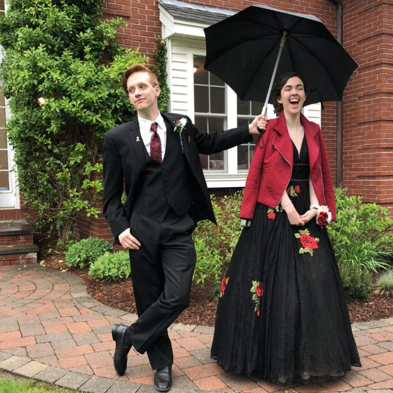 Joel Battle and Robin Miller are off to prom with an umbrella in hand. COURTESY PHOTO BY GLORIA MILLER