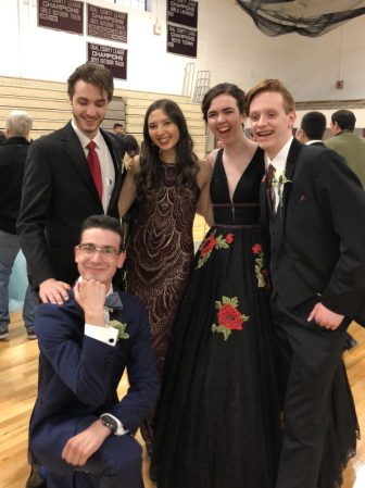 Making mischief, WestfordCAT capstone intern, Anthony Cammalleri sneaks into a photo with Justin Michaels, Maryam Mullenix, Robin Miller and Joel Battle, on the way to the Westford Academy prom on May 19. COURTESY PHOTO BY GLORIA MILLER