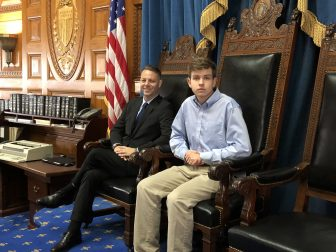 State Rep. James Arciero and Westford Academy Senior Capstone intern Andrew Dickey in the chamber of the Massachusetts House of Representatives. COURTESY PHOTO