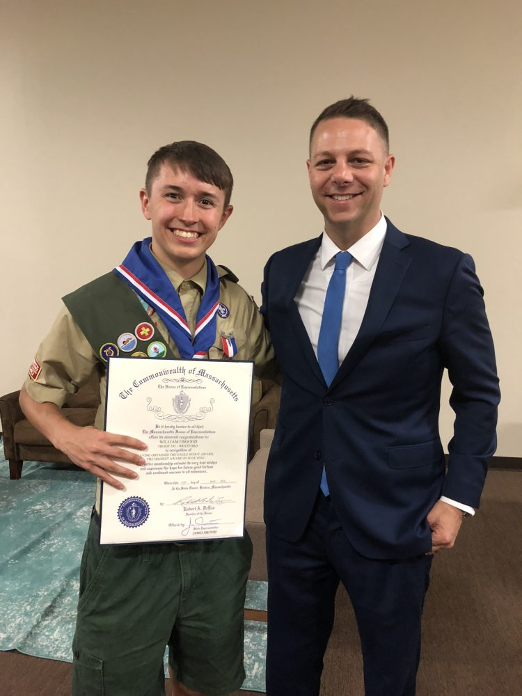 Eagle Scout William Osgood and state Rep. James Arciero. COURTESY PHOTO