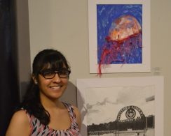 Christina Mehlhorn, a sophomore at Westford Academy, with one of her works. COURTESY PHOTO