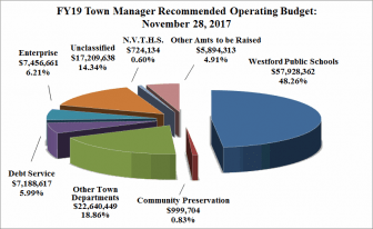 Budget pie chart for fiscal 2019 in Westford. The graphic illustrates that the school budget of $57.9 million is roughly half of the town's $120 million operating budget. COURTESY IMAGE DAN O'DONNELL