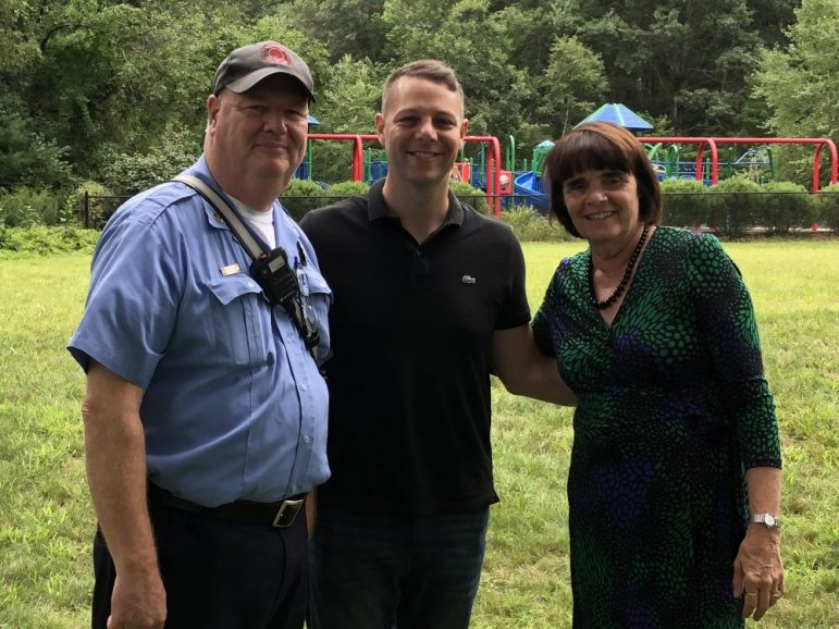 Westford Fire Department Lt. Don Parsons with State Rep. James Arciero and Middlesex County District Attorney Marian Ryan. COURTESY PHOTO