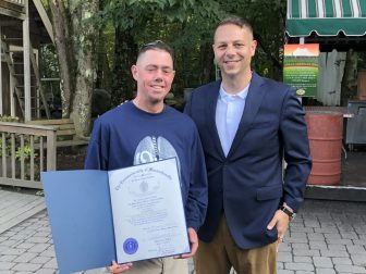 Resident Kevin O'Donnell with state Rep. James Arciero. COURTESY PHOTO