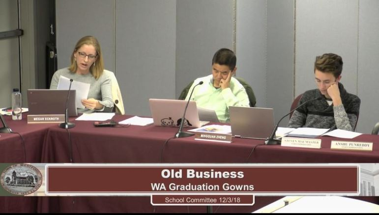 School Committee member Megan Eckroth (left) reads a policy recommendation as Mingquan Zheng and Steven MacMaster listen. WESTFORDCAT PHOTO