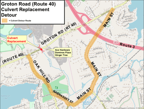 Groton Road (Route 40) Construction Detour Takes Effect on July 31 on il road closures map, ill weather map, illinois road map,