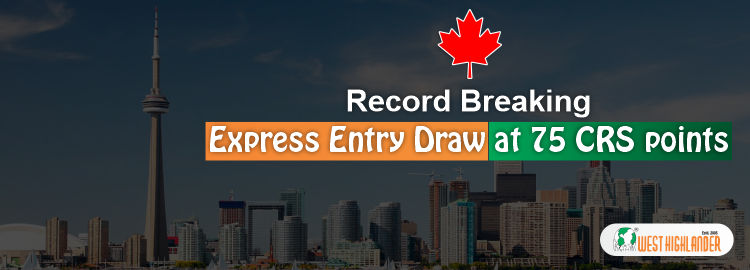 Record Breaking Express Entry Draw at 75 CRS points
