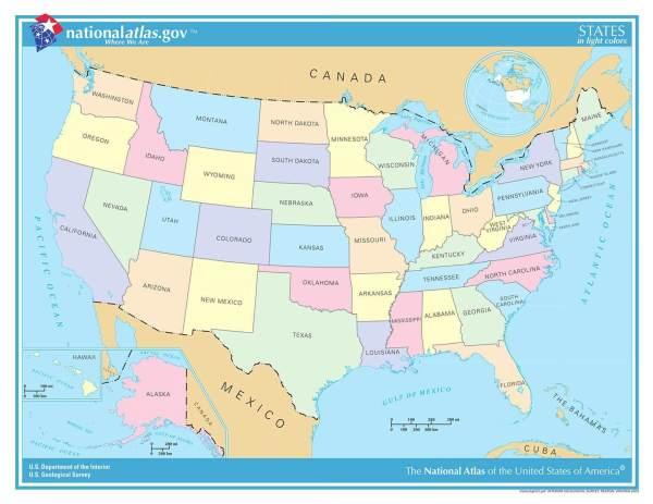 ᐅ Karte der USA | Alle 50 Bundesstaaten im Überblick