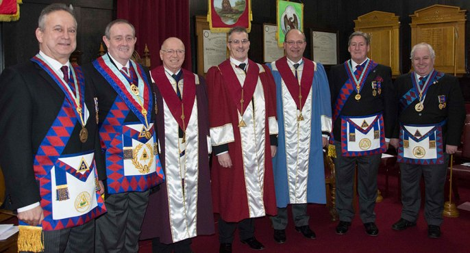 Pictured from left to right, are: Brian Griffiths, Tony Hall, Peter Jackson, Craig Simpson, Stuart Bateson, Neil McGill and Mike Silver.