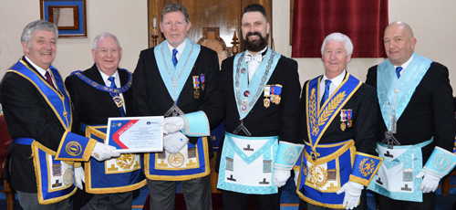 The presentation of the Vice Patron certificate, from left to right, are: Geoff Bury, Harry Cox, Frank Heath, Paul Morgan, Jim Wilson and Mark Oliver (charity steward).