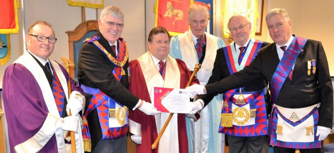Pictured from left to right, are: Jim Stewart, Tony Harrison, Phil Newby, Peter Wood, Frank Clarke (chapter charity steward) and Simon Hanson (group charity steward).