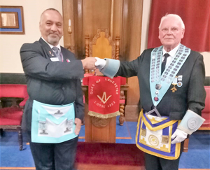 The WM Gordon Brown (right), welcome Adel Amin to the Duke of Lancaster Lodge.