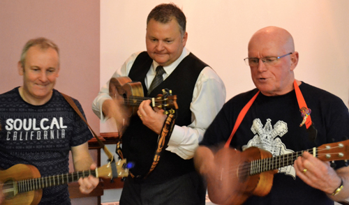 Paul Hudson (centre) makes guest appearance with the band.