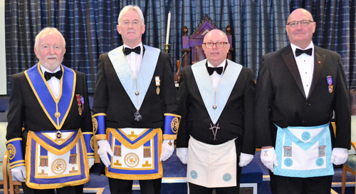Pictured from left to right, the brethren who delivered the working tools, are: Bernard Snape, Brian Stoddart, Kevin Rawcliffe and David Williamson.