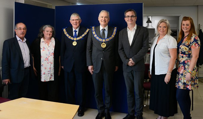 Pictured from left to right, are: Stephen Habgood (Chair), Sarah Fitchett (Trustee), Tony Harrison, Stephen Blank, Ged Flynn (CEO), Hazel Russell (Head of Fundraising), Lisa Roxyby (Head of Communications).