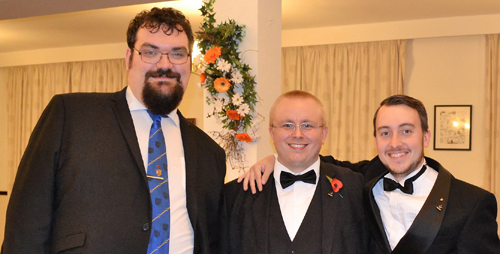 Pictured from left to right enjoying their Masonry, are: Tom Fuery, Peter Tooze-Froggatt and Sam Hodgson.