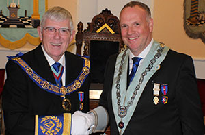 With new WM Mark Humphrey at Whitehills Lodge installation meeting.