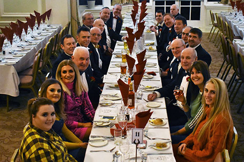 The stewards at dinner.