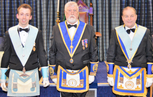 The brethren who presented the working tools, from left to right, are: Michael Threlfall, Glyn Davies and Bill Holland.