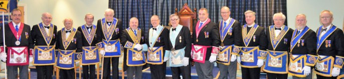 A glittering array of grand, acting Provincial grand and lodge officers.