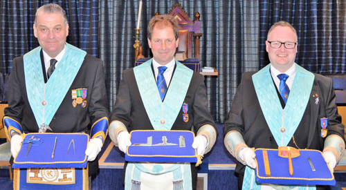 The brethren who presented the working tools. Pictured from left to right, are: Neil Hartley, Tony Ollerton and Matthew Mason.
