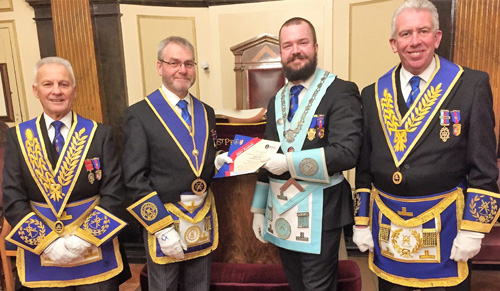 Presentation of two Grand Patron certificates. Pictured from left to right, are: Martin Lockyer, Barry Fletcher, Stuart Kidd and Mark Matthews