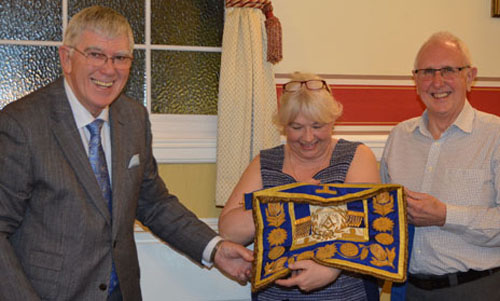 I was delighted to be able to present this apron to Caroline Crook and Vic Charlesworth for display at the Warrington Masonic Museum.