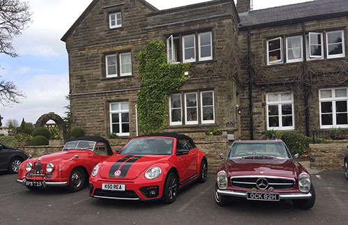 Three classics of different decades. From left to right; Jowett Jupiter, Beetle Cabriolet, Mercedes Pagoda.