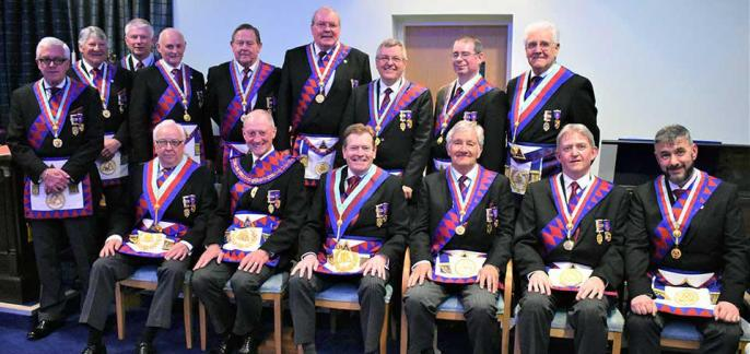 Pictured are the demonstration team with, seated second from left, Barry Jameson and Kevin Poynton on his right.