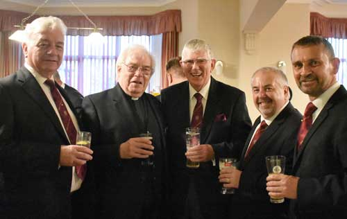 Pictured from left to right, are: Barrie Crossley, Godfrey Hirst, Tony Harrison, Chris Butterfield and David Thomas.