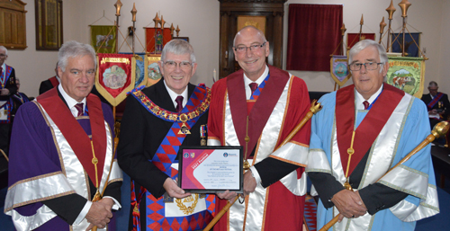 Pictured from left to right at the presentation of the Patron's certificate, are: Simon Hanson, Tony Harrison, Richard Holdstock and Graham Taylor.