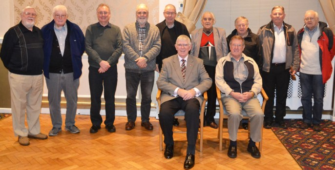 Members of the 'Circle' and their guest speaker Tony Harrison (centre).