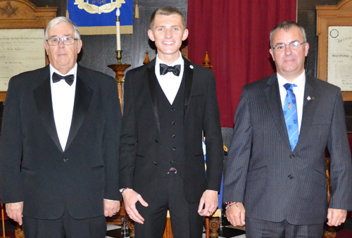 The acclaimed brethren who presented the working tools, are from left to right: Graham Taylor, Ben Gregg and Gareth Evans.