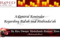 A General Reminder Regarding Innovation and Innovators | Abu Uwais Abdullah Ali