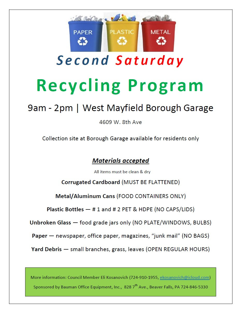 Second Saturday Recycling Program