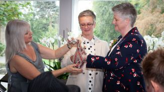 Handfasting Gay Wedding - Celia and Jan. Service conducted by Ruth Graham Independent Celebrant.