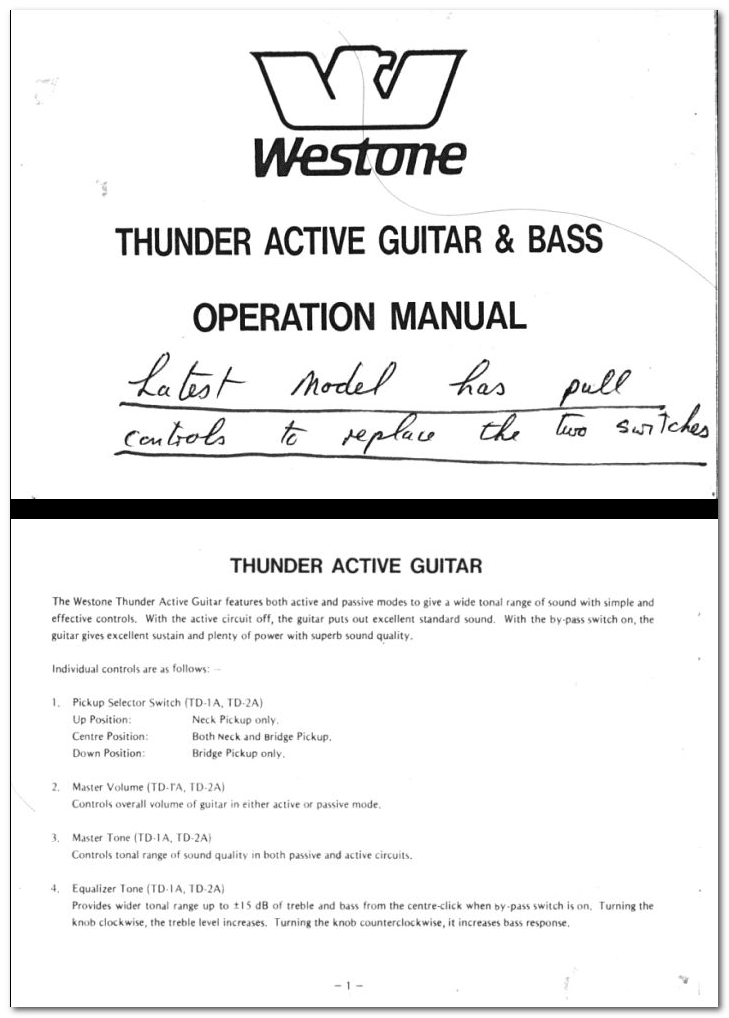 man3 thunder active guitar and bass manuals westone guitars the home westone thunder 1a wiring diagram at reclaimingppi.co