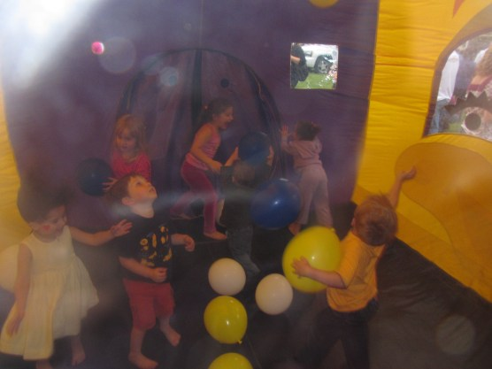 Jumping in the inflatable castle