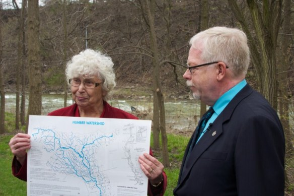 Mary Louise Ashbourne with a map of the Humber Watershed.
