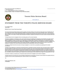 [TPSB] STATEMENT FROM THE TORONTO POLICE SERVICES BOARD copy